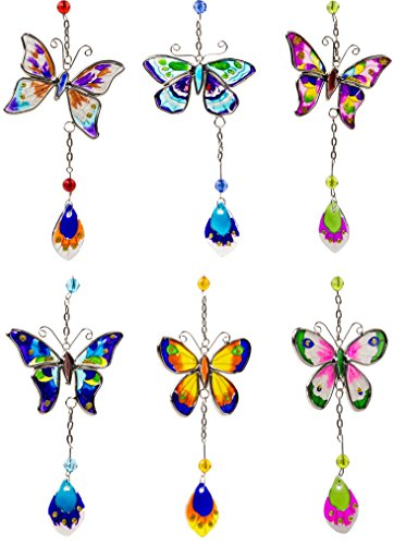 Butterfly Suncatcher with Painted Wings Art Glass Hanging Charm - Set of 6