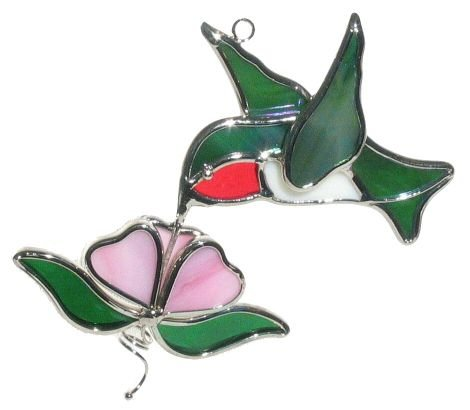 Ruby Throated Hummingbird And Flower Stained Glass Suncatcher