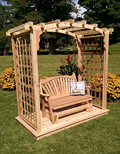 Amish-Made Cambridge Style Cedar Arbor with Deck Glider - 6 Wide Walkthrough Unfinished