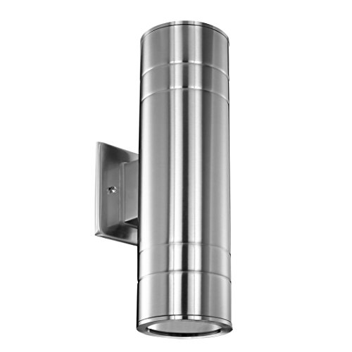 Cerdeco WS-7650 Waterproof Porch Light UL-Listed Outdoor Wall Lamp Cylinder Wall Sconce Nickel Finished Suitable for Garden Patio