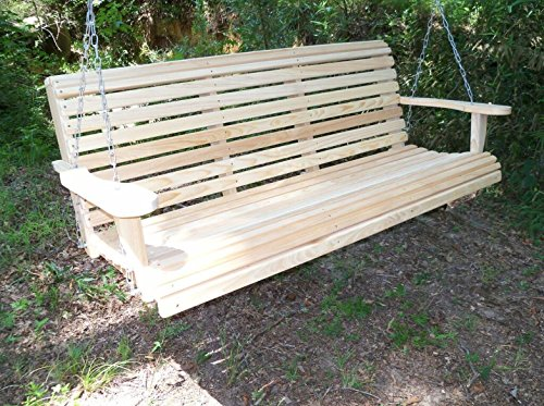 5 Ft Roll Back Porch Swing Made From Rot-resistant Select Louisiana Cypress Eternal Wood Made In The Usa - Green
