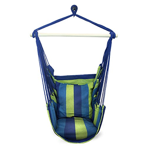 Hammock Swing Chair Includes Hanging Rope and Two Seat Cushions Blue and Green Stripes Ideal for Indoor and Outdoor Relaxation