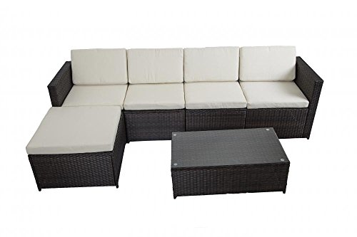 6 Pcs Outdoor Patio Sofa Set Sectional Furniture Pe Wicker Rattan Deck Couch