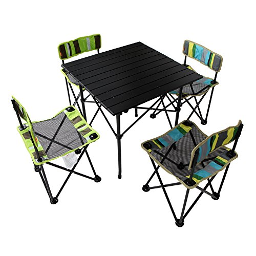 Yodo 5-in-1 Roll Up Picnic Table And Chairs Set In A Bag For Family Outdoor Lunch Or Camping Beach Card Fishing