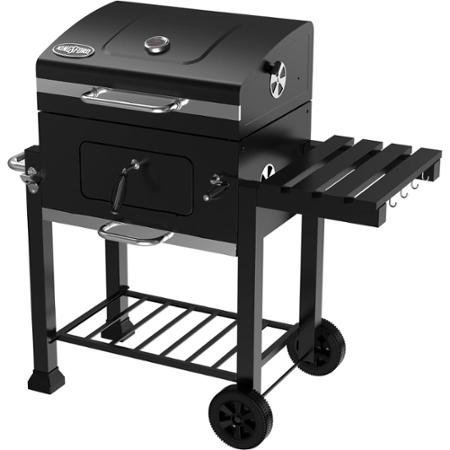 Kingsford 24 Charcoal Grill iron cooking grid has foldable table with tool hooks high-temperature black paint finish