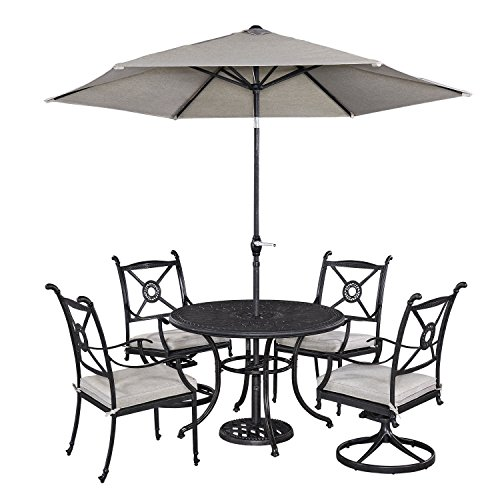 Home Styles Athens 5 Piece Dining Set with 42 Dining Table Two Swivel Chairs Two Arm Chairs and Umbrella