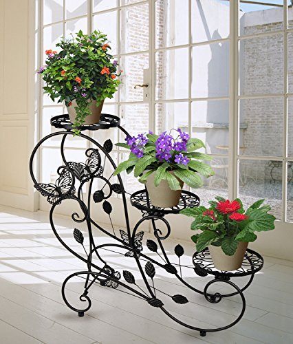 Hlc Classic Plant Stand Shelf Holds 3-flower Pot Black