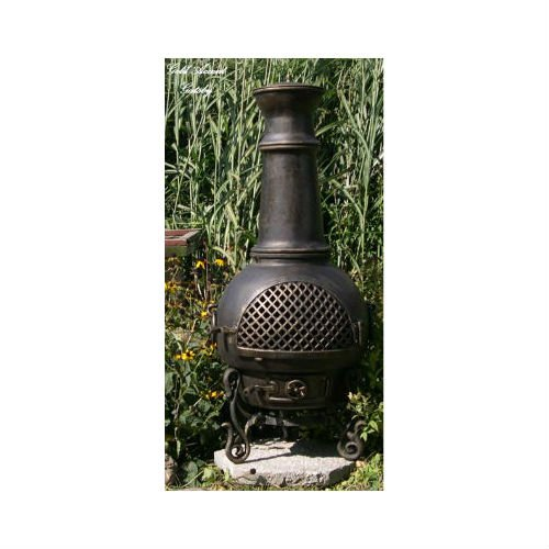 Blue Rooster Gatsby Style Wood Burning Outdoor Metal Chiminea Fireplace Gold Accent Color