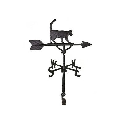Montague Metal Products 32-Inch Weathervane with Satin Black Cat Ornament