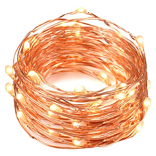 String Lights Oak Leaf 2 Set of Micro 30 LEDs Super Bright Warm White Led Rope Lights Battery Operated on 98 Ft Long Ultra Thin String Copper For Home Bedroom Party