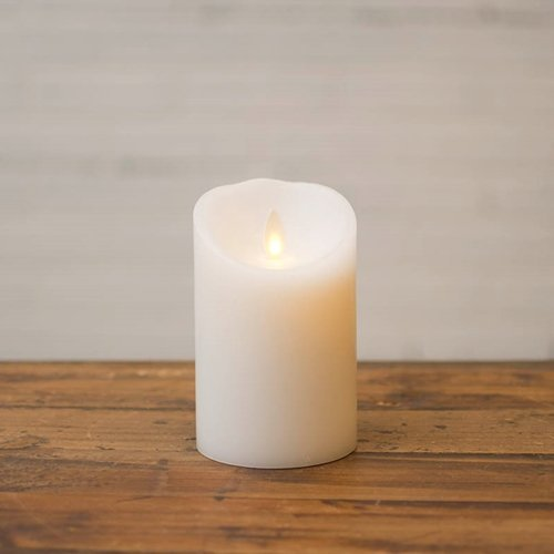 Luminara Wax Pillar Candle Battery Operated Moving Flame 4in White