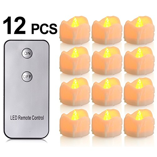 Battery Candles With Remote, 12 Packs Pchero Battery Operated Candle Led Unscented Flickering Flameless Tea Lights