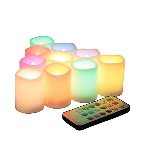 Candle Choice Set Of 10 Color Changing Multi-color Flameless Led Votive Candles With Remote And Timer