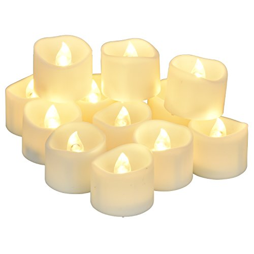 Elander Led Tea Lights Flameless Candle With Timer 6 Hours On And 18 Hours Off 14 X 16-inch 12 Pieces White