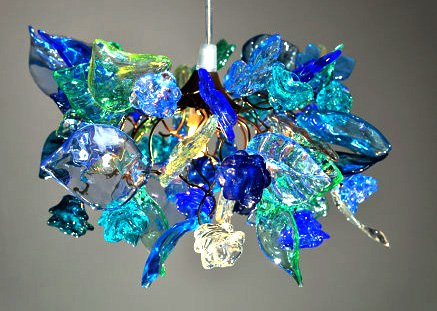 Lamp Shades - Blue tones flowers and leaves Ceiling Light for Bedroom lighting Home Hall Kitchen - Light Fixtures - Pendant lighting - Home Decor