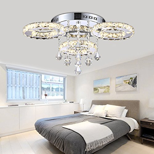 Ameride 30W LED Designer Crystal Ceiling Light 256 In x 138 In AD-6101-3C 3 Color Steps With Remote Control