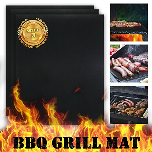KONY Nonstick BBQ Grill Mat Set of 3 - 1575 x 13 Inch Reusable Barbecue Grill Mats for Steaks Shrimp Vegetables - Essential Grilling Accessories for Home Cooks and Grillers Gas Charcoal Ovens