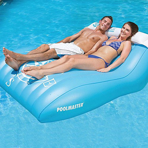 57 The Nautical Aqua Blue and White Double Mattress Swimming Pool Float with Retractable Neck Roll