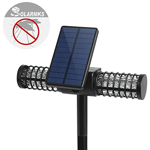 Solarmks MW-0104 Solar Bug Zapper with 4 LED UV Bulbs Cordless Security Outdoor Mosquito Killer Lamp