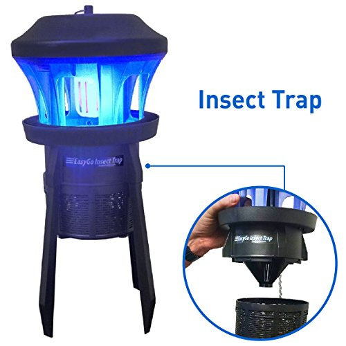 EasyGoProducts Insect Trap-Insect Mosquito Fly Bug Killer for Indoor-Outdoor Use Protects up to ½ Acre - Whisper Quiet Suction Fan with No Zapper Noise