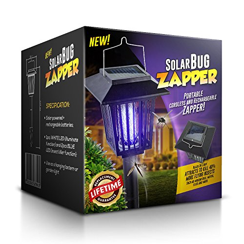 Solar-powered Outdoor Bug Zapper  Mosquito Killer - Hang Or Stick In The Ground - Dual Modes - Bug Zapperamp Garden