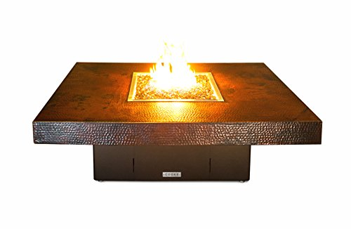 Hammered Copper Santa Barbara Rectangular Fire Pit Table - 48 x 36 x 18-Propane-Bronze