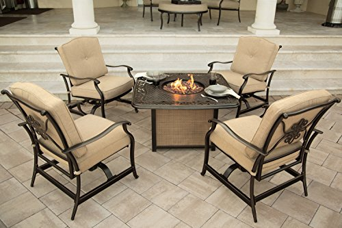Hanover 5-Piece Traditions Outdoor Cast Tabletop Fire Pit Lounge Set Natural OatAntique Bronze