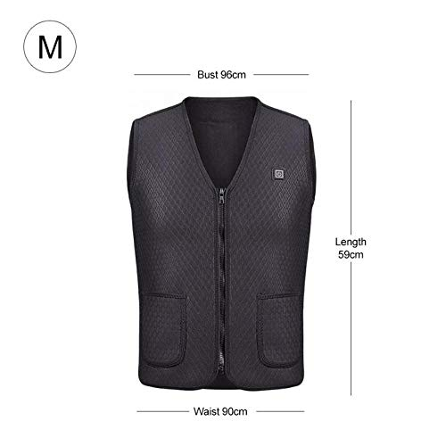 JennyBen Electric USB Infrared Heating Vest Jacket Winter Electric Warm Clothing Outdoor Heating Vest 8 Heating Zone Black_L_R