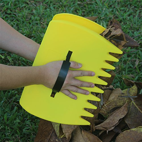 SCHOME yellow Large Garden and Yard Leaf ScoopsPlastic Scoop GrassHand Leaf Rakes And Leaf Collector For Garden Rubbish Great Tool Set Of 2