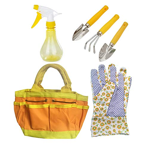 Kids Helper Garden Tools Set for Children Bag Gloves Spray Bottle Gardening Set 6 Pieces Set