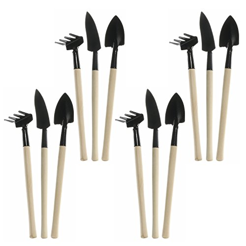 3-Pieces Garden Tool Set Mini Spade Rake Shovel Set with Wooden Handle Metal Head Indoor Gardening Plant Tool Kit for Your Plant Care 4 Packages