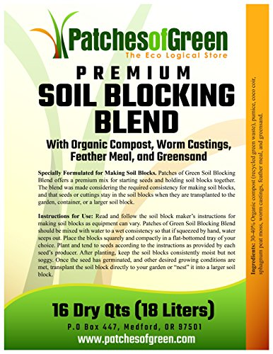 PREMIUM SOIL BLOCKING BLEND with Organic Compost Worm Castings Feather Meal and Greensand - 16 Dry Quart Bag
