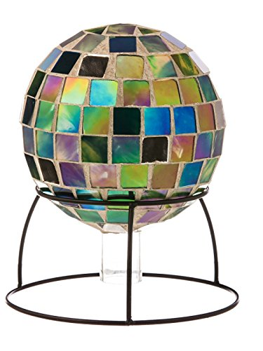 Green Mosaic Table Top Gazing Ball with Stand
