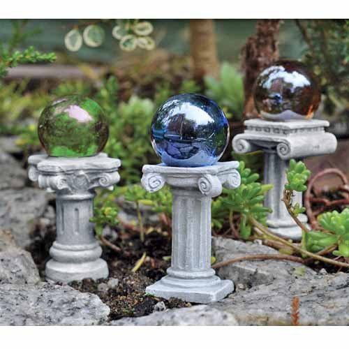 3 Miniature Gazing Balls Picks Fairy Garden