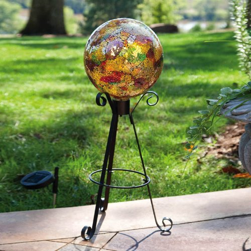 Gold Mosaic Gazing Ball With Metal Display Stand