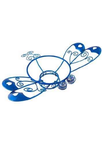Russco Lll Gd126498 Blue Plated Wiremetal Metal Gazing Ball Stand Dragonfly