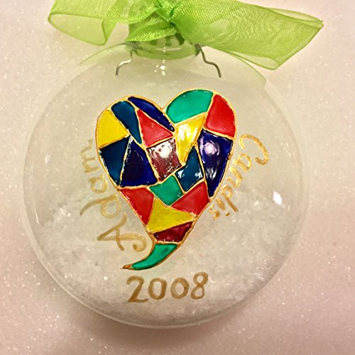 Modern Stained Glass Heart Personalized Christmas Ornament