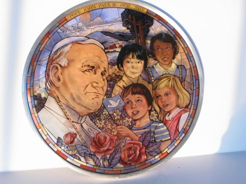 Saint Pope John Paul II All Gods Children Stained Glass Pewter Window Hanging Suncatcher by Glassmasters USA Jack Woodson Artist