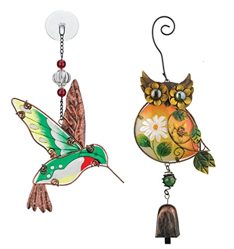 Regal Art Gift Hummingbird Suncatcher And Owl Ornament with Bell Chime for Home Garden Window and Wall Art