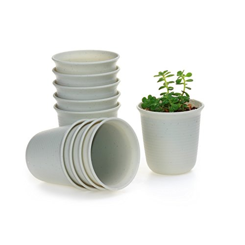 T4u 35 Inch Plastic Round Sucuulent Plant Potcactus Plant Pot Flower Potcontainerplanter Marble White Package