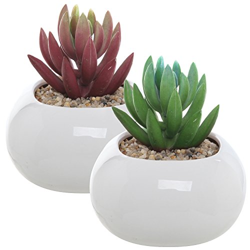 Set Of 2 Small Round White Ceramic Modern Succulent Planter Pots - 35 Inch Mygift Home Decor