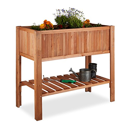 Relaxdays Raised Flowerbed Fir Wood Shelf 4 Legs Plant Box Flowers Herbs HxWxD 80 x 88 x 435 cm Red-Brown