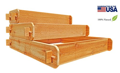Timberlane Gardens Raised Bed Kit 3 Tiered 1x3 2x3 3x3 Western Red Cedar Elevated Planter with Mortise and Tenon Joinery 3 Feet x 3 Feet