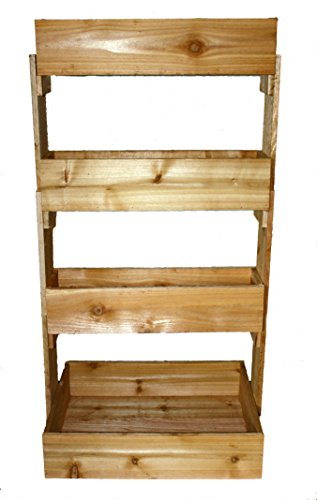 Raised Cedar Garden Vertical 4 Tier Planter