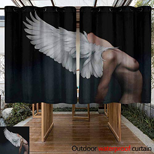 VIVIDX Outdoor Curtain and Drape for Pergola Lightweight Tab Top Panel W55x63L