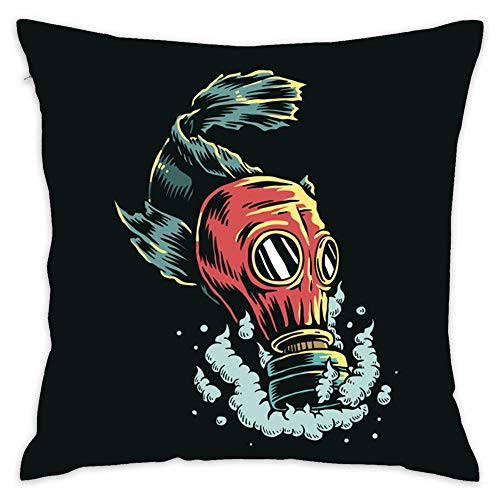 Fish Wearing Gas Mask Polluted Water Illustration Home Throw Pillow Case 18X18 Inch Square Custom Pillowcase Cushion Cover for Home Decor Sofa Car