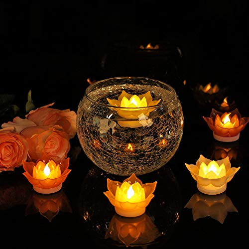 Romingo 7 Colors Lotus LED Candles Floating Candle Batteries Operated Flameless Candle Light Beautiful for Festival Lamp Decoration Home Garden Pond