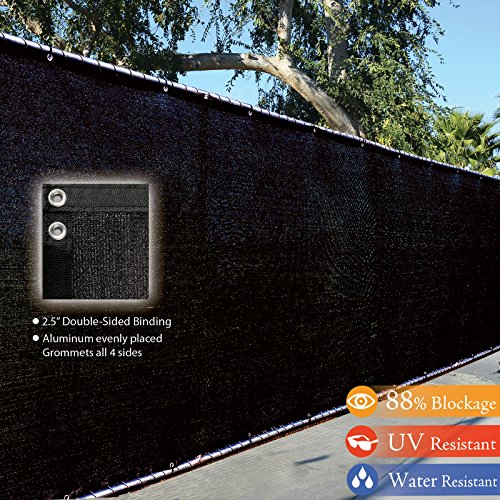 Fence4ever 4 X 50 3rd Gen Black Fence Privacy Screen Windscreen Shade Fabric Mesh Tarp aluminum Grommets