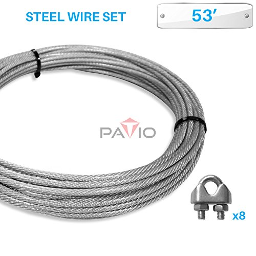 PATIO Paradise Shade Sail Hardware Kit53-Feet Wire Rope and 8 Pcs Clamps Coated Steel Cable 316 7x19 Stand Core