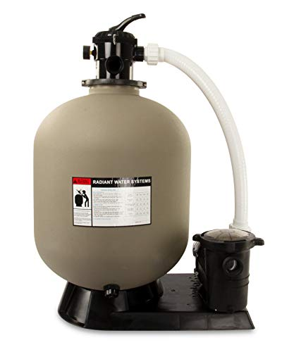 Rx Clear Radiant Complete Sand Filter System  for Inground Swimming Pool  Mighty Niagara 1 HP Pump  24 Inch Tank  300 Lb Sand Capacity  Up to 33000 Gallons